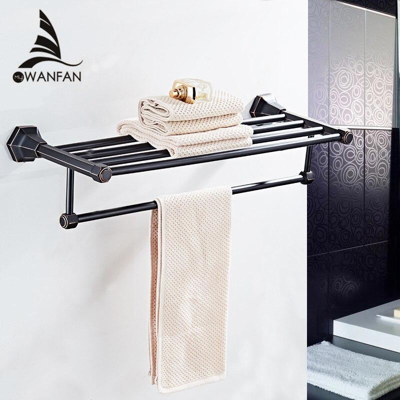 Mensole bagno Parete di Alta Qualità Montato Finitura Cromata Nera Towel Holder Rack Appendiabiti Asciugamano Vestiti di Stoccaggio Scaffale 93012