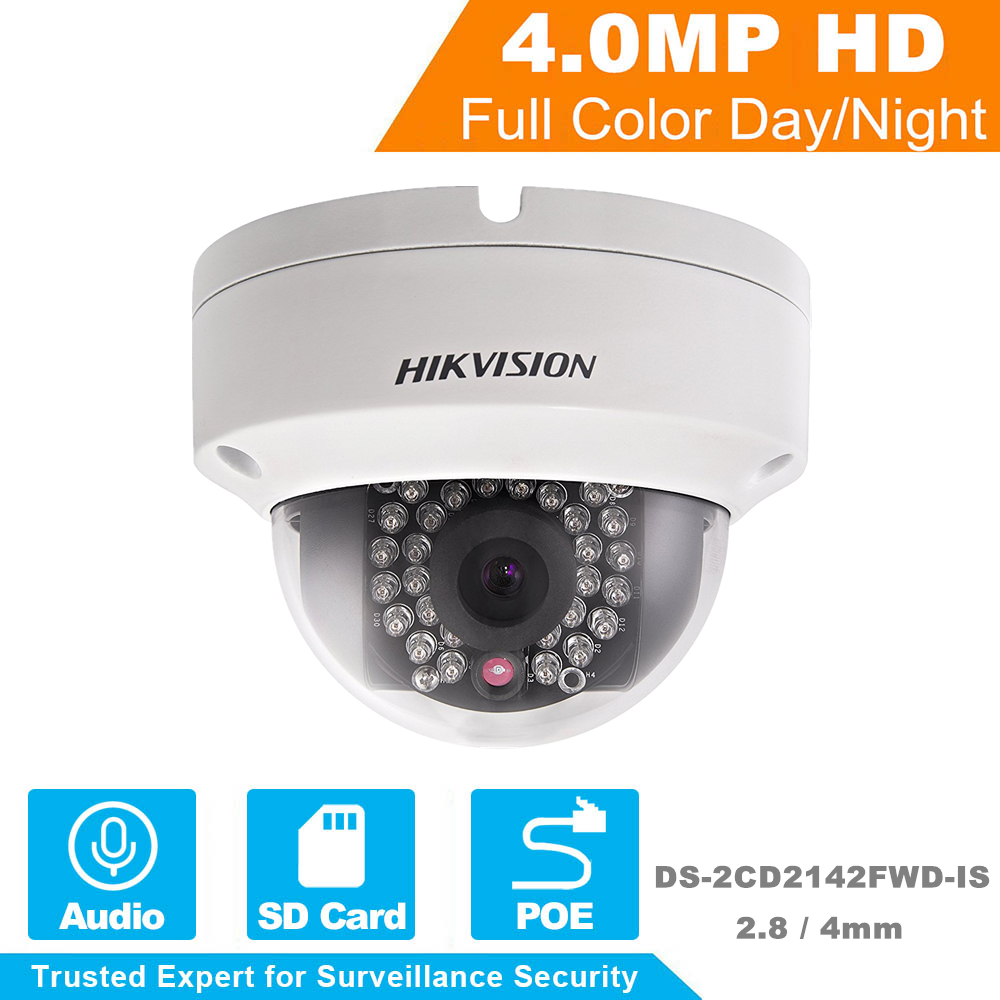 HIKVISION CCTV Camera DS-2CD2142FWD-IS 4 Megapixels Network Dome Camera PoE IP Camera with IR Day/Night DNR 3-axis adjustment 16pcs lot hikvision ds 2cd2735f is ip camera 3mp full hd ip66 dome camera water proof poe power network ir