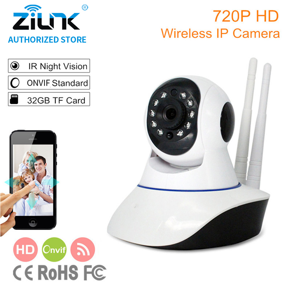 ZILNK 720P Wireless  IP Camera WiFi Smart Home Security HD 2 way audio Night Vision Baby Monitor Support TF Card Onvif White