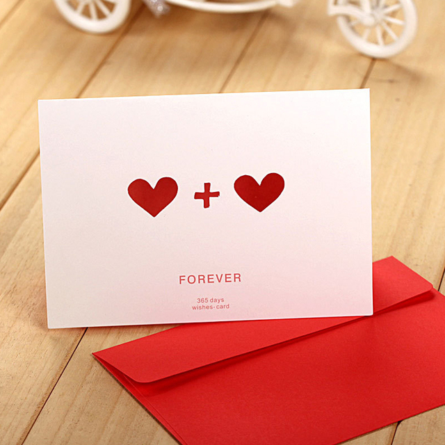 5pcslot Lovely Korean Style Letter White Greeting Card Birthday