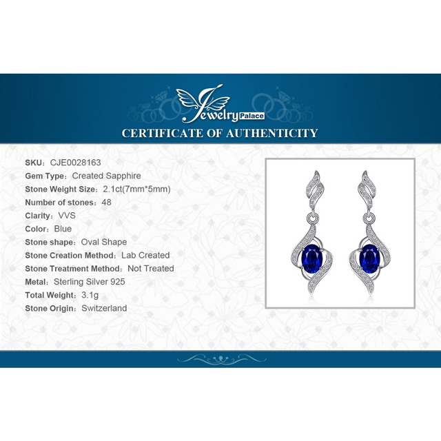 JewelryPalace Christmas Gift For Women Fine 2.5 Blue Sapphire Drop Earrings Dangle Genuine Solid Pure 925 Sterling Silver