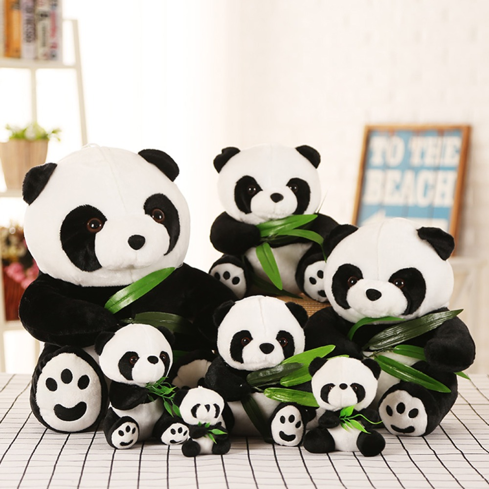 40/50cm Animal plush toy Lucky Panda with bamboo doll Kawaii Sleeping Back Cushion cartoon gifts Accompany Dolls stuffed toys 30