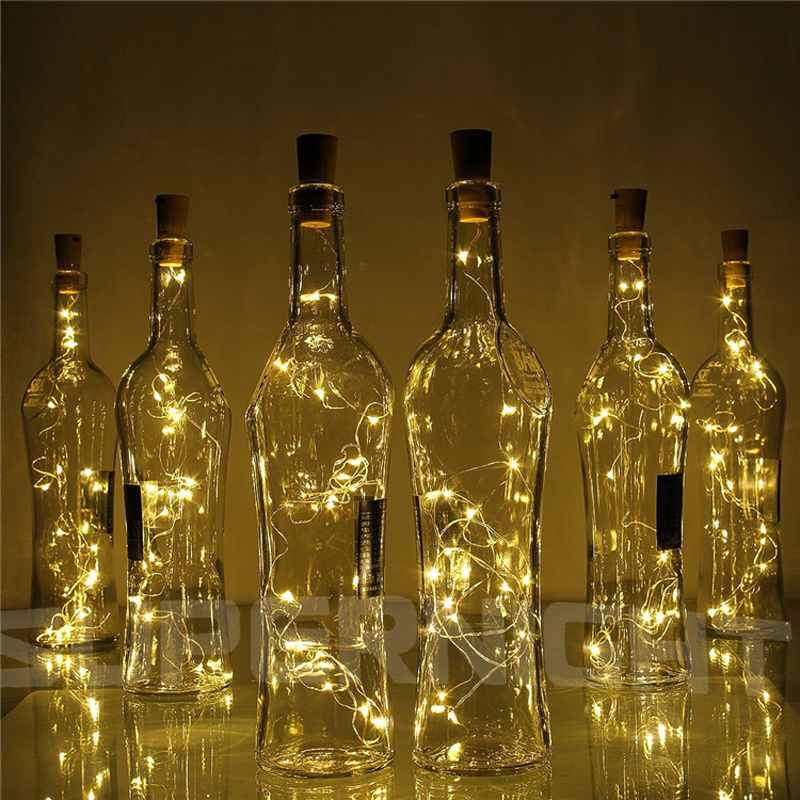 Corda de luz de cobre com tampa de 2m, 20 leds, para garrafa de vidro artesanal, decoração de casamento, corda de natal luzes para iluminação