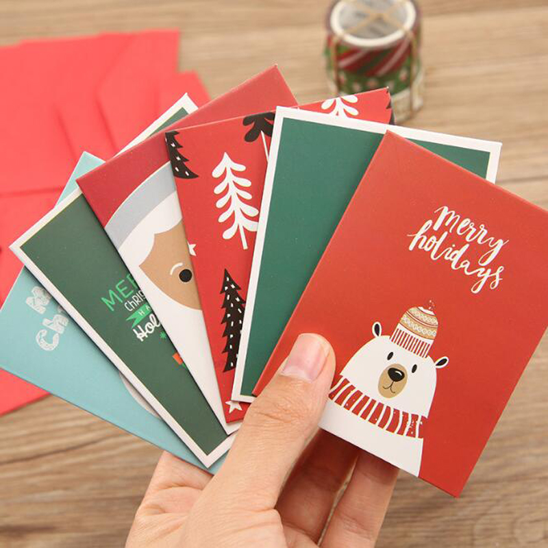 Christmas Card A For All Series Message Holiday Wish Card Christmas With Envelope Creative Letter Paper Thank You Card
