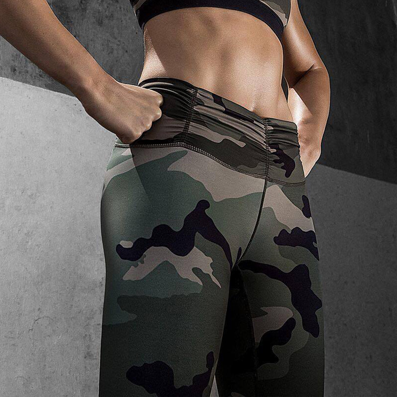 EU Women Camo Yoga Pants Women Yoga Leggings Camouflage High Waist Running Tights Women High Quality Fitness Sport Leggings stylish women s high waist camouflage color skinny ninth pants