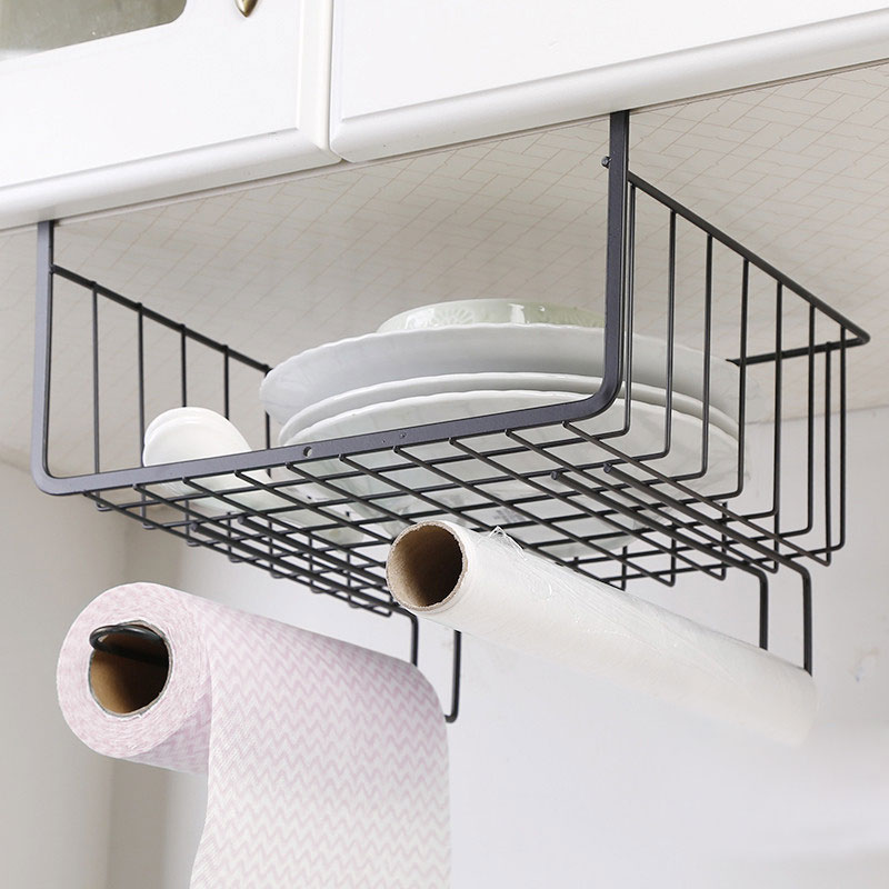 Iron Cabinet Hanging Storage Rack Closet Storage Shelf Dormitory Kitchen Cabinet Storage Organizer Rack Hanging Basket