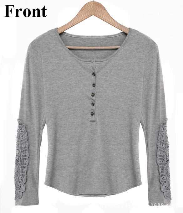 Koreanische Version Tops Neue T Shirt Frauen Dünne Spitze Rundhals lange-ärmeln T-shirt Große Größe Bodenbildung Kleidung Vestidos LBD9815