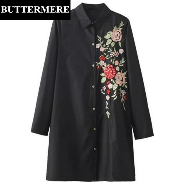 BUTTERMERE Black Shirt With Floral Embroidery Women Cotton Ladies Long Sleeve Blouse Large Size Fashion Brand Clothing Blusas