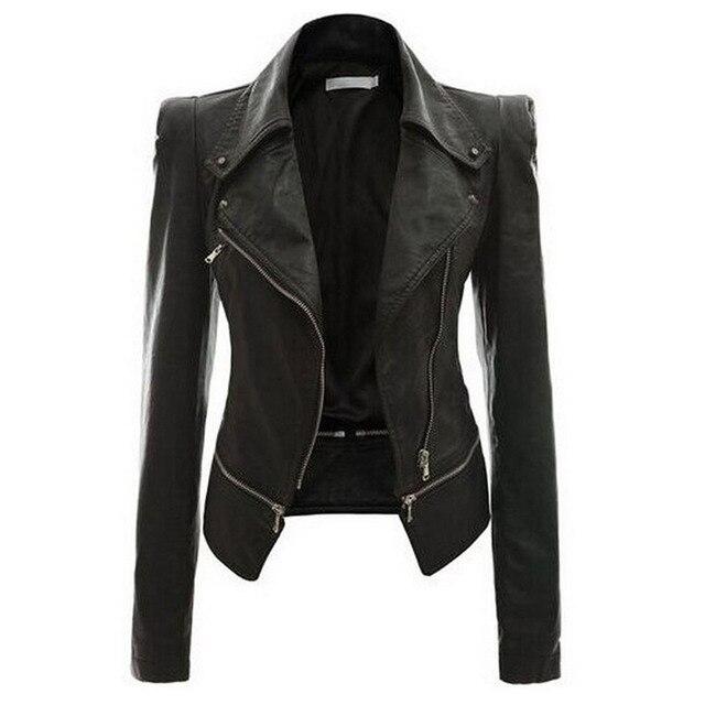 Autumn Women Faux Leather Gothic Black Zippers Long sleeve Jacket