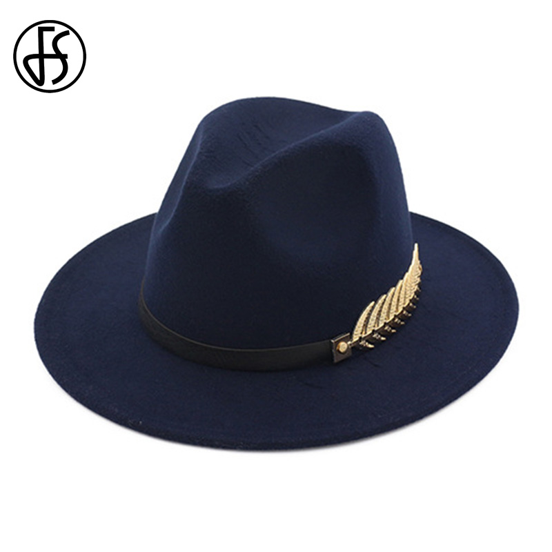 FS Wool Felt Hats Black For Women With Wide Brim Belt Church Men Jazz Godfather Fedora Hat Trilby <font><b>Gangsters</b></font> Winter Chapeau Femme image