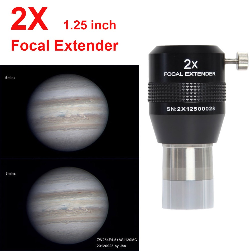 New Explore Scientific Telescope 2X Focal Extender 1.25inch Barrel Achromatic Barlow Lens
