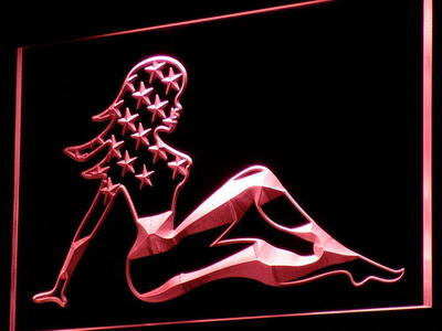 i813 Sexy Lady Woman US Flag Bar PUb Decor Neon Light Sign On/Off Swtich 20+ Colors 5 Sizes