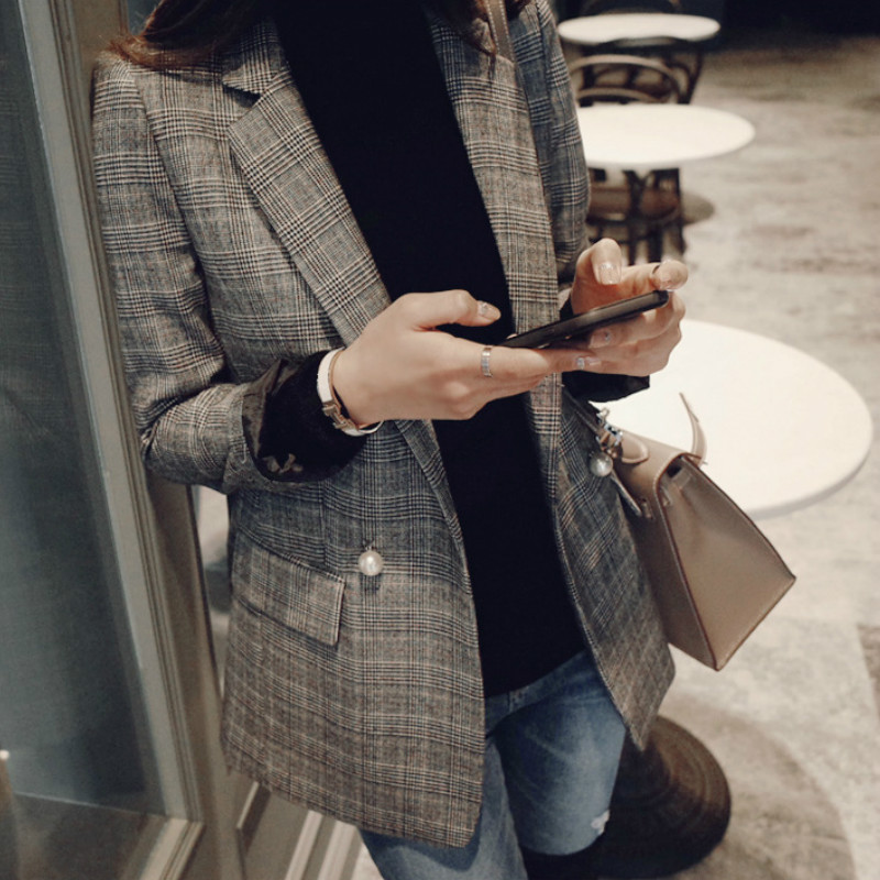 Ladies Suit Jacket Korean Version 2019 Autumn Large Size Temperament Long-sleeved Plaid Small Suit Fashion Slim Ladies Jacket