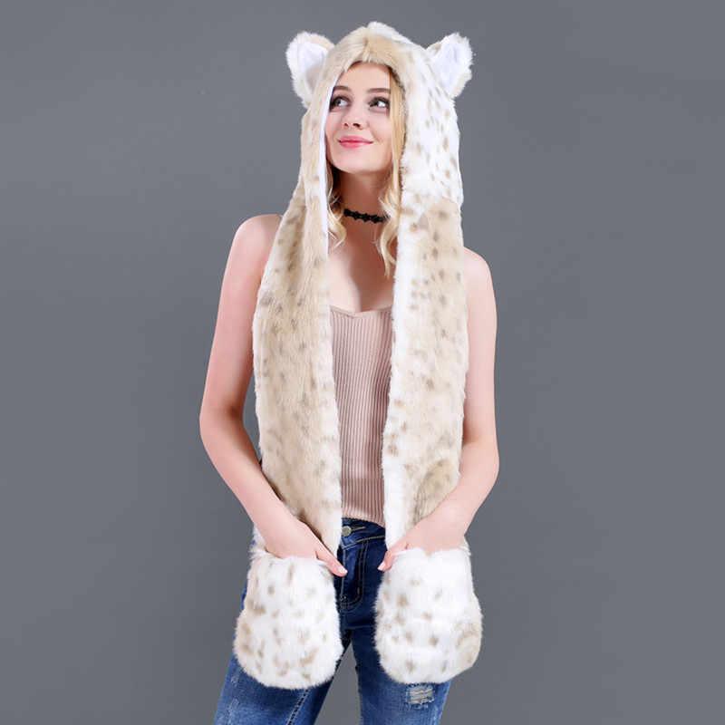 8359c5d2 ... Women Fashion Leopard Ears Paws Faux Fur 3 in 1 Women's Hat Scarf  Mittens Winter Warm ...