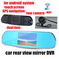 Dual Camera Car DVR Rearview Mirror 5 inch camcorder night vision front 140 back 120 degree viewing angle for android GPS WIFI