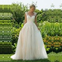 A Line Sleeveless Lace Appliques Wedding Dress Back Button Boho Scoop Neck Bridal Dresses Beach Bridal Gowns Vestido de noiva