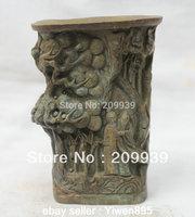 Huij 00102中国中国有名なブロンズ風景パインツリー&オールドメンブラシポット鉛筆花瓶 -