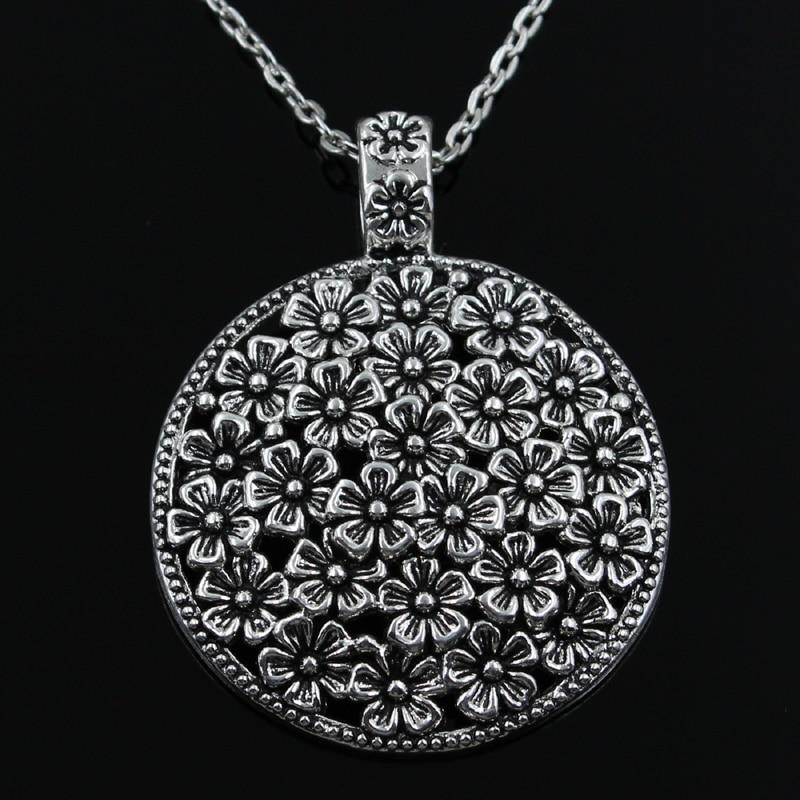 Nova moda flor coberto disco pingentes redondo cruz corrente curta das mulheres dos homens colar de prata jóias presente