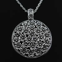 Nuovo fiore di modo coperto disco Pendenti catena trasversale rotonda corto lungo Mens Womens collana di Gioielli in argento Regalo