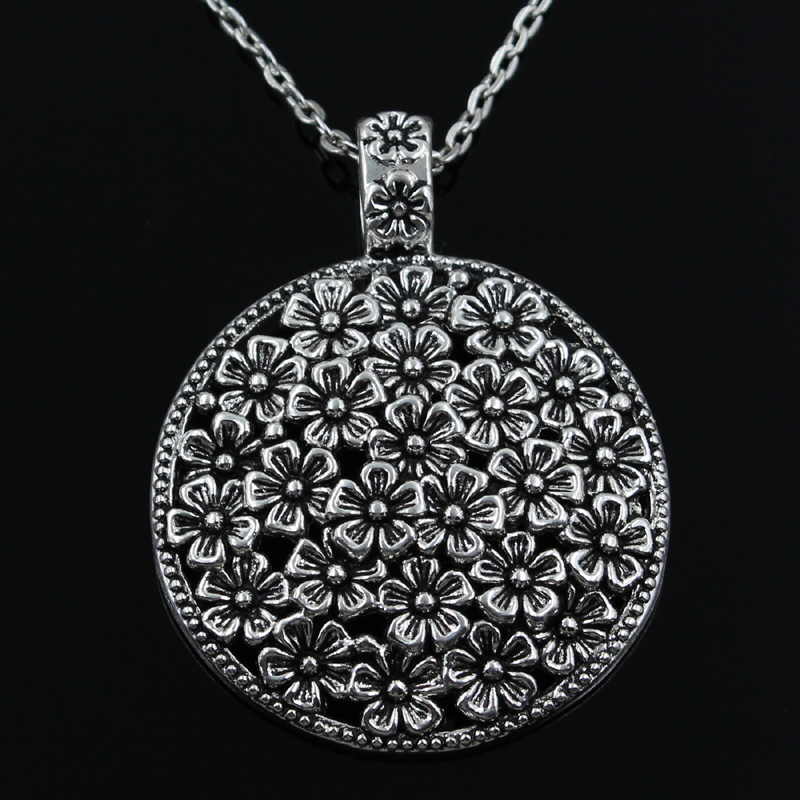 New Fashion Flower Covered Disc Pendants Round Cross Chain Short Long Mens Womens Silver  Necklace Jewelry Gift