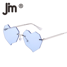 JM Wholesale 10pcs/lot Heart Rimless Sunglasses Women Irregular Clear Flat Mirrored Lens Eyeglasses Frameless Sun Glasses все цены