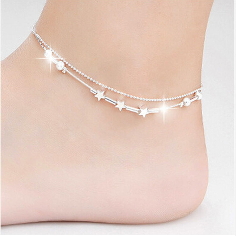 Little Star Women Chain Ankle Bracelet Barefoot Sandal Beach Foot Jewelry Alloy Silver 25cm Enkelbandje Anklet D#