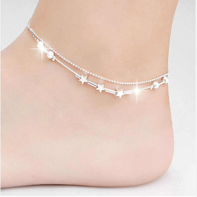 Little Star Women Chain Ankle Bracelet Barefoot Sandal Beach Foot Jewelry Alloy Silver 25cm enkelbandje Anklet D#