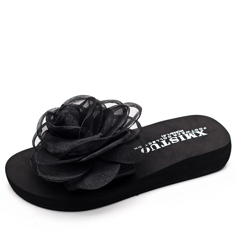 XMISTUO high quality summer beauty students ladies beach Stretch fabric slippers lace with chiffon flowers EVA thick sandals
