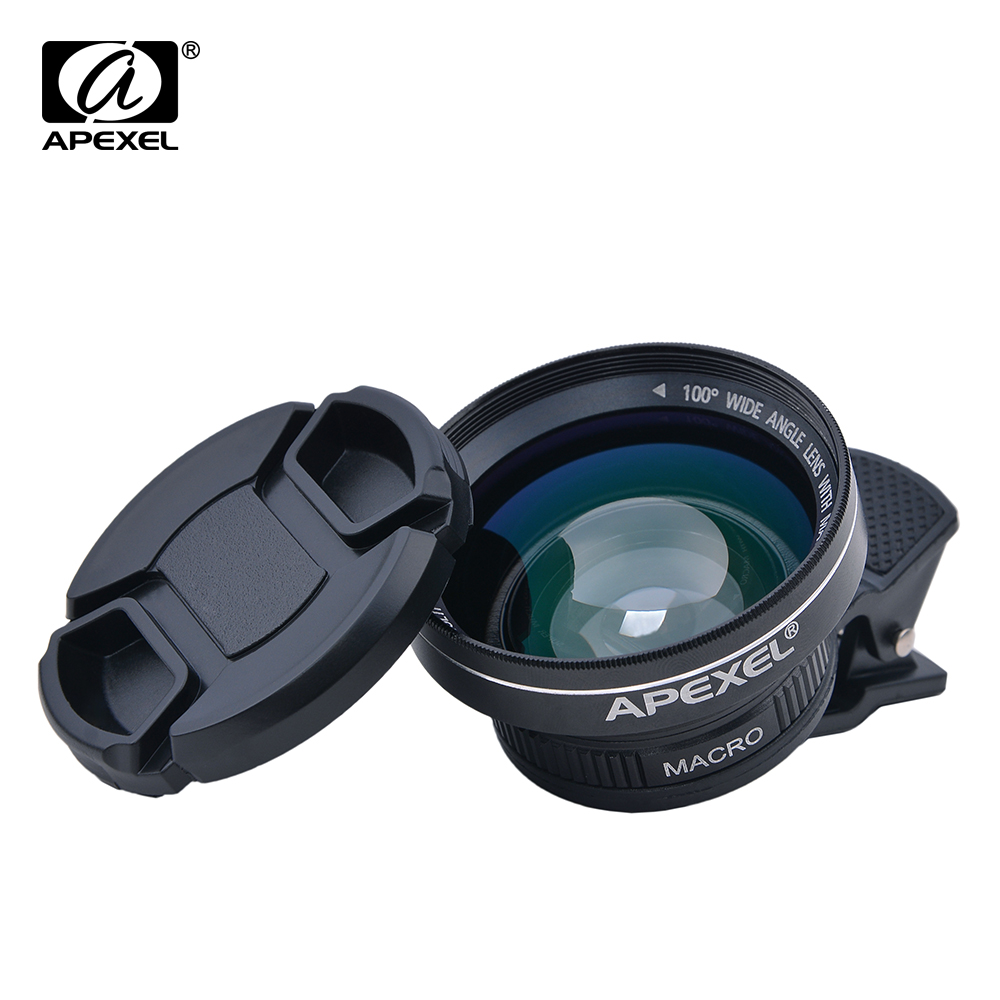 Цена за Apexel профессиональный HD Камера объектив Комплект 0.63X широкоугольный 12.5X макрообъектив мобильного телефона объектива для iPhone 6S плюс 7 Samsung S8 плюс