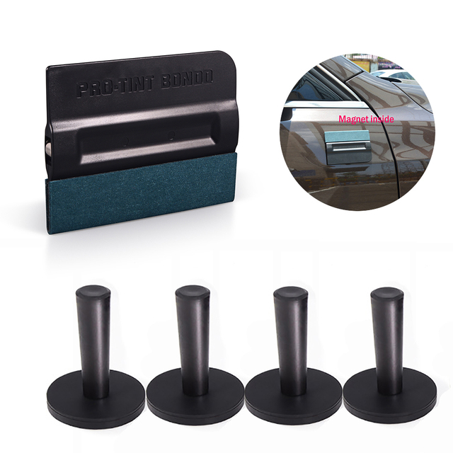 FOSHIO 5pcs Carbon Fiber Vinyl Wrap Film Car Magnet Holder Magnetic Squeegee Tint Scraper Car Sticker Wrapping Install Fixer