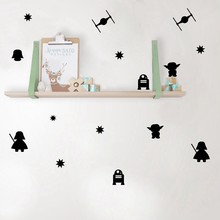 Cartoon Star Wars Vinyl Wall Stickers , Death Star Darth Vader Robot YODA Mural Art Vinyl Decal For Kids Room Decoration(China)