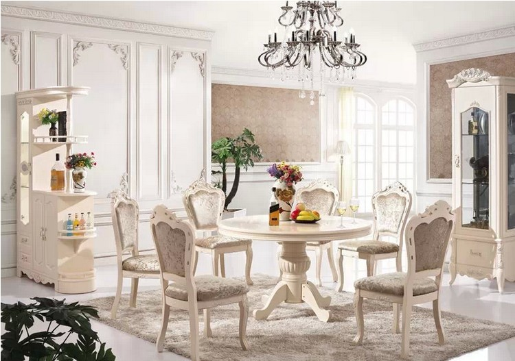 European Style Solid Wood Dining Room Set Home Furniture Sets With Wine Cabinet