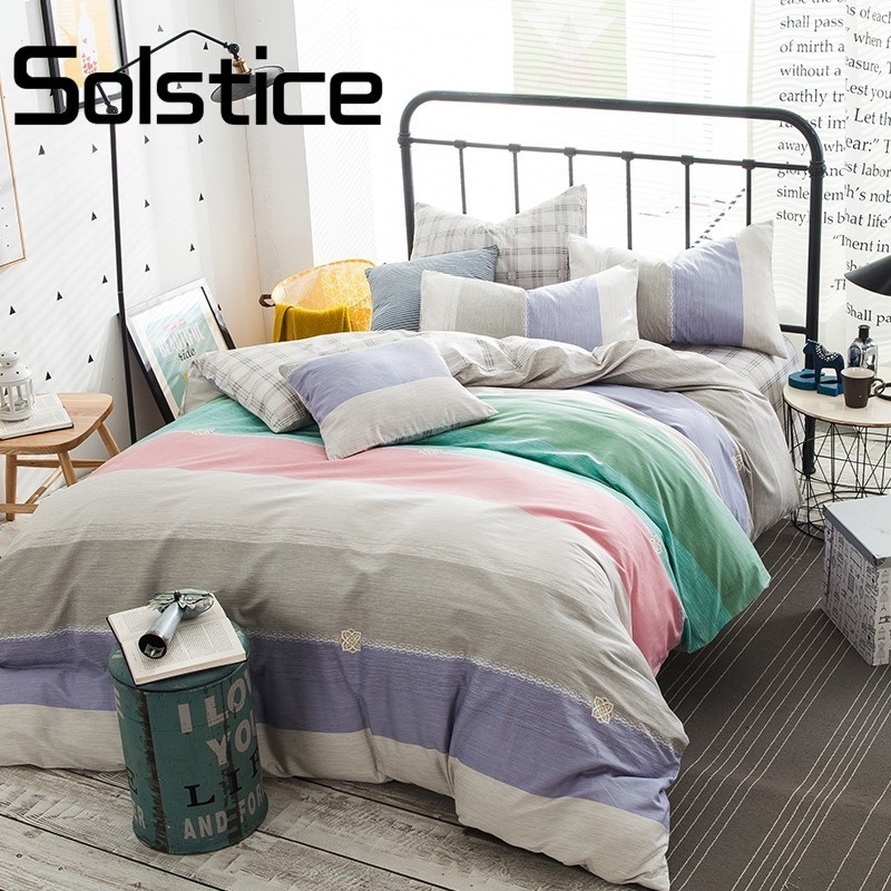 Solstice Simple Stripes  Twilight Printed Queen Size Bedlinens  Fabric Duvet Cover Sets 4pcs Sheet Bedding Set Pillow Casesx 30Solstice Simple Stripes  Twilight Printed Queen Size Bedlinens  Fabric Duvet Cover Sets 4pcs Sheet Bedding Set Pillow Casesx 30