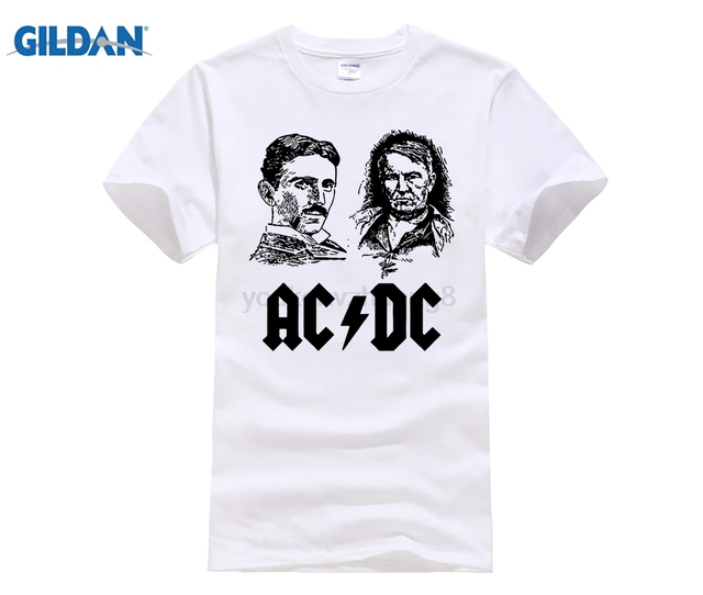 Hot Deals Ac And Dc Nikola Tesla Edison Electricity Teslatron The Cur War Men S Tshirt Tees Size Xl