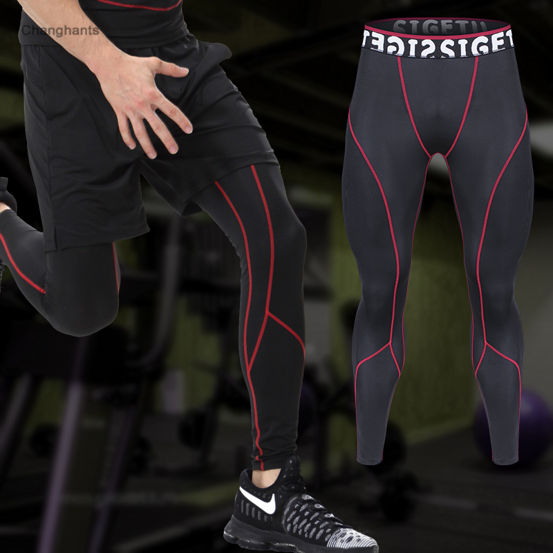 5ac1ca0e1f Men Running Tights Black with Red or Green Lines Basketball Tight Jerseys  Quick Dry Yoga Sportswear Elastic Pants Gym Clothes-in Running Tights from  Sports ...
