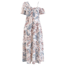 AcFirst Summer White Women Long Dresses Printed Backless One Shoulder Holiday Sexy Plus Size Sundress Beach Style