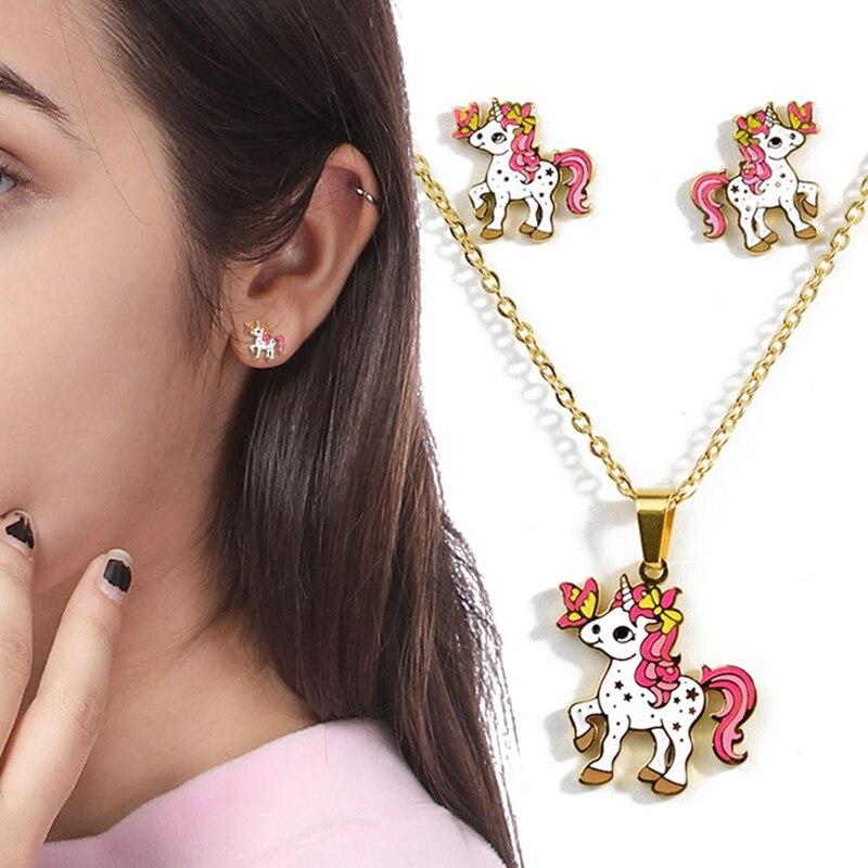 Cartoon-Pink-Horse-Unicorn-Design-Enamel-Gold-Necklace-Earrings-Earrings-Jewelry-Gift-Children