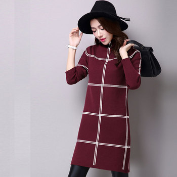 2018 Cashmere Sweater Dress Winter Women Turtlenck Plaid Pattern Dress Elegant Knitted Long Sleeve Bodycon Dresses Vestidos Top