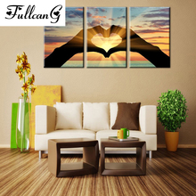 FULLCANG setting sun love triptych mosaic needlework diy diamond painting cross stitch full square rhinestone embroidery E625