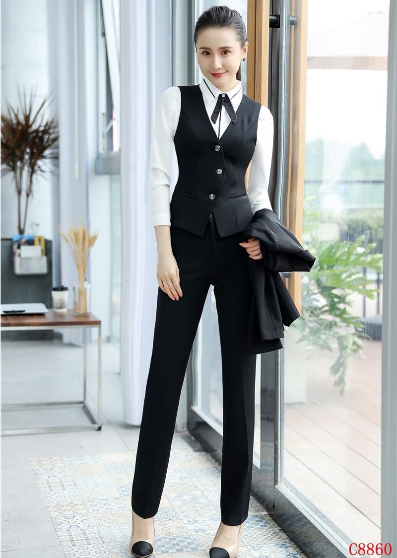 2f5d2d79e0 Affari Nero Dei Top Signore Vestiti amp; Disegni Ufficio Uniforme Donne Con  E Di Modo Set Gilet Panciotto Delle Pantaloni 7w1ztnIqCx