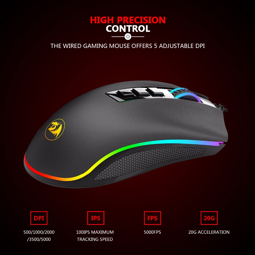 Redragon M711 COBRA Mouse 10000 DPI – Insect Gaming