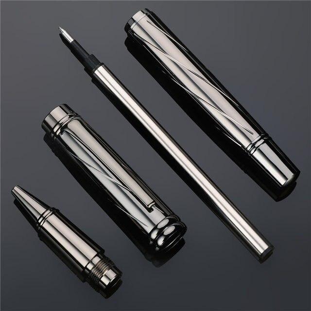Luxury Silver plating Ballpoint pen Metal Ball Pens For school Vulpen Stationery plume Penna stilografica Vulpen boligrafo 3732 3