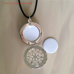 Image 2 - sublimation locket new round necklaces pendants blank thermal transfer printing women  necklace pendant consumables 15pcs/lot