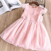 Girl S 5 Stars Mesh Sequins Dress 2018 Spring Children S Princess Dress