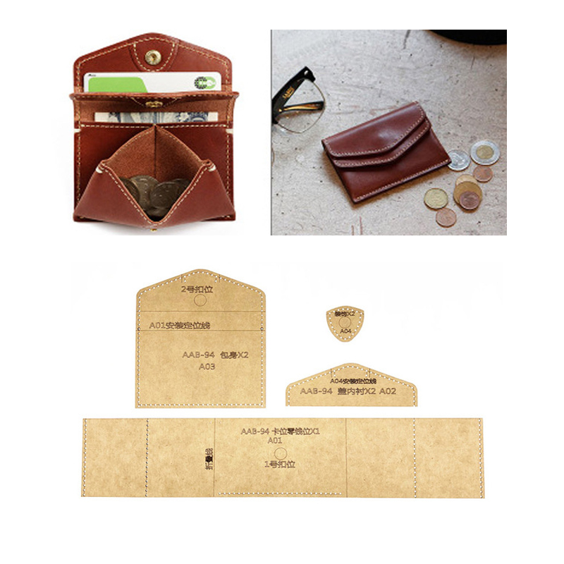 1set DIY Leather Handmade Craft Women Wallet Purse Sewing Pattern Hard Kraft Paper Stencil Template 220x120x25mm