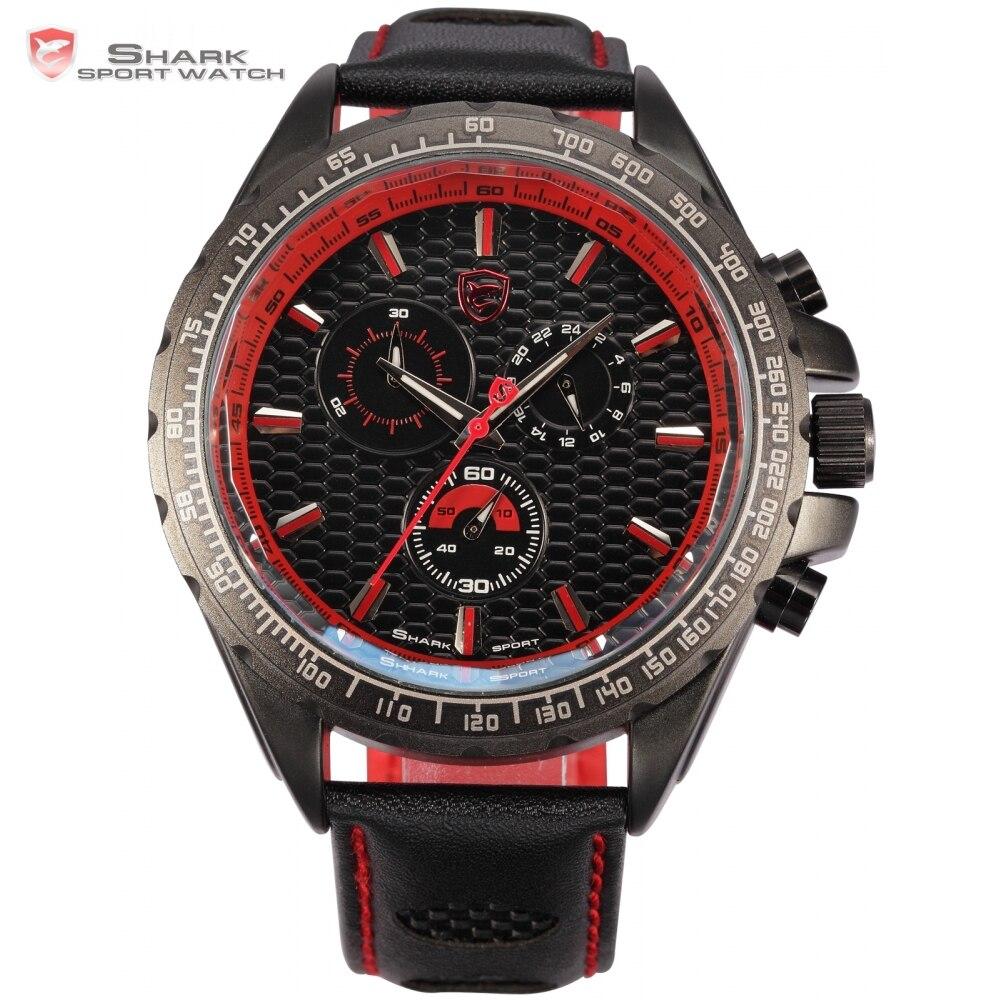 a8e860db18a Babados estilo shark caixas de relógio do esporte dos homens marca original  vermelho Dia 6 Mãos Pulseira de Couro Preto Militar Tag Quartzo Relógio SH196  em ...