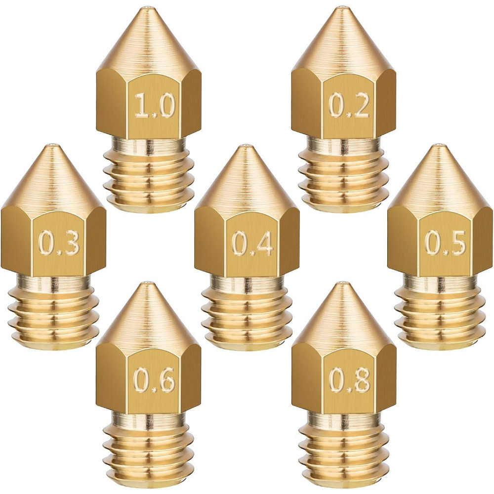 MK7/MK8 Bico Para 3d Printer 0.4/0.3/0.2/0.5/0.6/0.8 milímetros de Cobre peças de Cabeça Bocais de Latão Rosca 1.75 milímetros 3.0 milímetros Filamento Extrusora