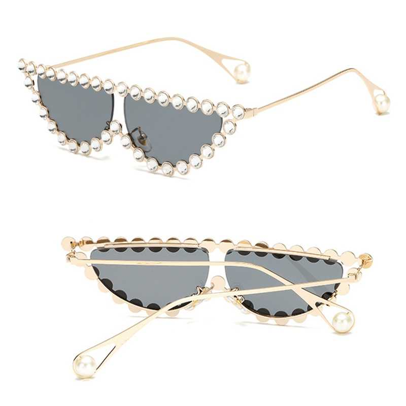 Diamond tiny pearl Frame Cat Eye Sunglasses Women  Vintage Triangle Shades Rhinestone Sunglasses For Female Metal UV400