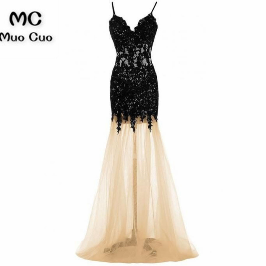 2018 New Mermaid Prom   Dresses   with Black Appliques Beaded Tulle Champagne tulle Sweep Train Formal Women's   Evening     Dresses