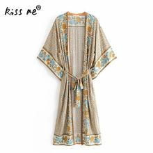 Cotton Floral Printed Tunic With Belt Swimming Cover Ups Loose Beach Cover Up Front Slit Sun Protectionn Sunmmer Beach Wrap